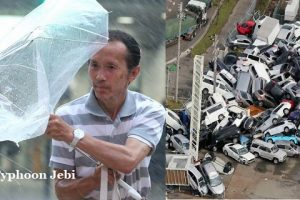 Typhoon Jebi in japan- 10 died, 187 cars catch fire, 1.5 feet rain