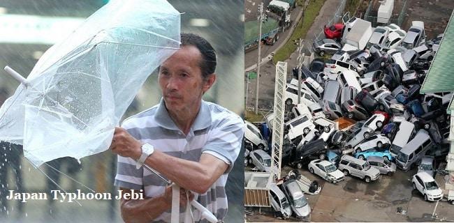 Typhoon Jebi in japan- 10 died, 187 cars catch fire, 1.5 feet rain